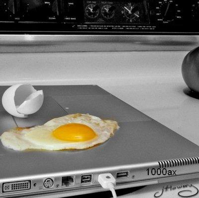پخت نیمرو با حرارت لپ تاپ